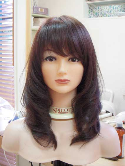 オリジナルウィッグ ニューミックス毛 ナチュラルブラウン ロングレイヤースタイル
